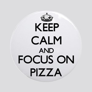 Keep Calm and focus on Pizza Ornament (Round)