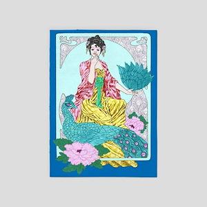 Dragonflies Peacock and Kimono 5'x7'Area Rug