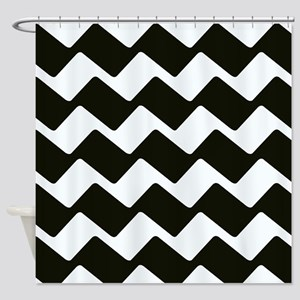 Fancy True Black Chevrons Shower Curtain
