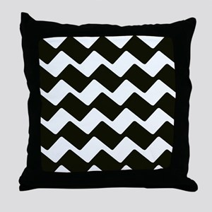 Fancy True Black Chevrons Throw Pillow