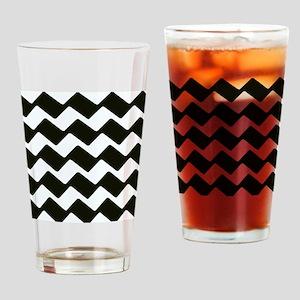 Fancy True Black Chevrons Drinking Glass