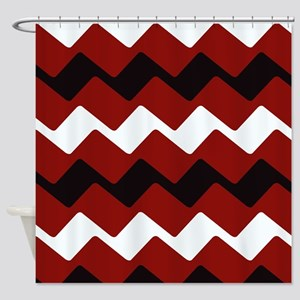 Sharp Red and Black Chevrons Shower Curtain