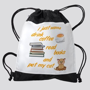 Coffee Books Cats Drawstring Bag