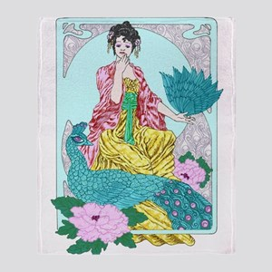 Dragonflies Peacock and Kimono Throw Blanket