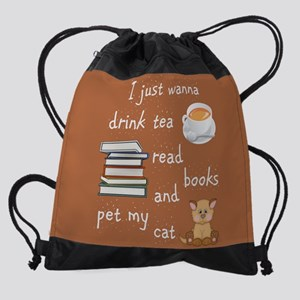 Tea Books Cats Drawstring Bag