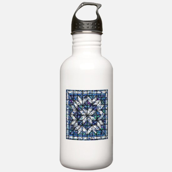 blue onion quilt Water Bottle