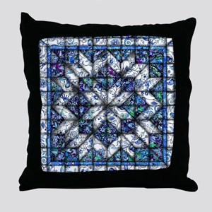 blue onion quilt Throw Pillow