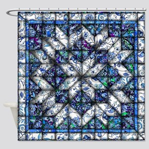 blue onion quilt Shower Curtain