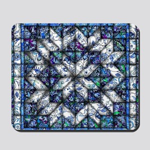 blue onion quilt Mousepad