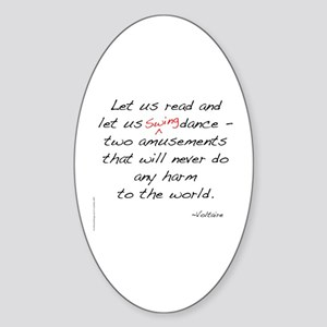 Voltaire On Swing Oval Sticker
