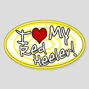 Hypno I Love My Red Heeler Oval Sticker Ylw