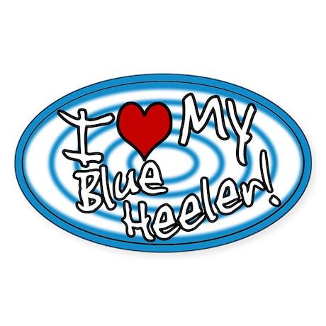 Hypno I Love My Blue Heeler Oval Sticker Blu