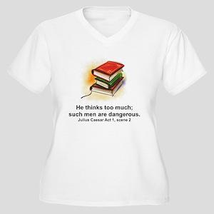 He Thinks Too Muc Women's Plus Size V-Neck T-Shirt