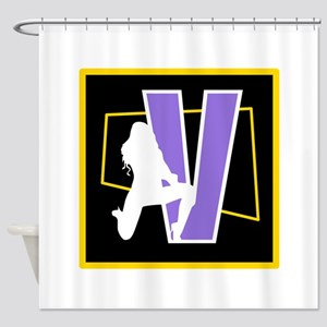 Naughty Initial Design (V) Shower Curtain