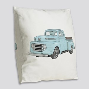 1950 Ford F1 Burlap Throw Pillow