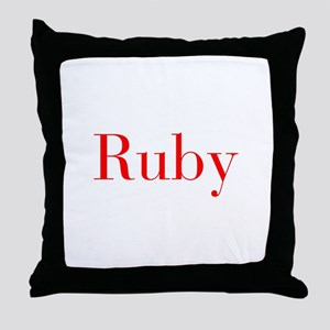 Ruby-bod red Throw Pillow