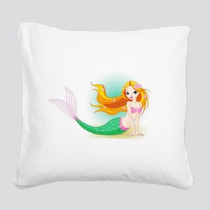 Beautiful Mermaid Square Canvas Pillow