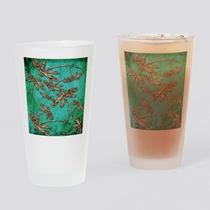 Dragonfly Turquoise Swirl Drinking Glass