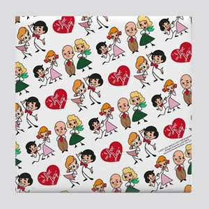 I Love Lucy Character Stick Figures Tile Coaster