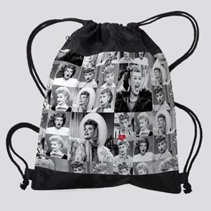 I Love Lucy Face Collage Drawstring Bag