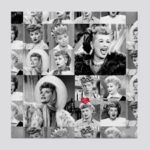 I Love Lucy Face Collage Tile Coaster