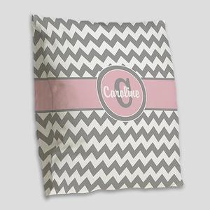 Gray Pink Chevron Personalized Burlap Throw Pillow