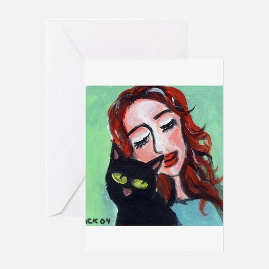 Black Cat w Redhead Greeting Cards