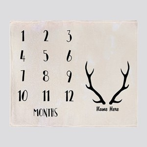 Baby Milestones Antlers Personalized Throw Blanket