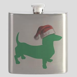 Christmas Light Green Dachshund Flask