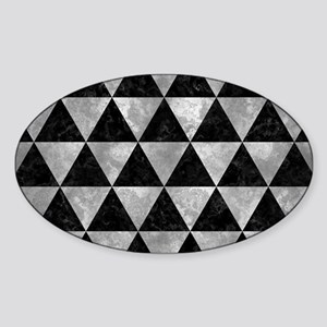 TRIANGLE3 BLACK MARBLE & GRAY METAL Sticker (Oval)