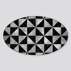 TRIANGLE1 BLACK MARBLE & GRAY METAL Sticker (Oval)