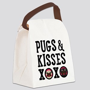 Pugs & Kisses Black Text Stacked Canvas Lunch Bag