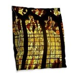 Autumn Stained Glass Burlap Throw Pillow