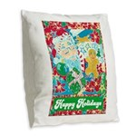 Happy Holidays Burlap Throw Pillow