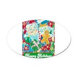 Happy Holidays Oval Car Magnet