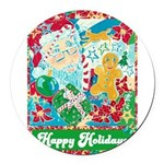 Happy Holidays Round Car Magnet