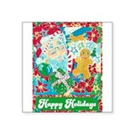 "Happy Holidays Square Sticker 3"" x 3"""