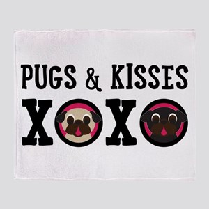 Pugs & Kisses With Black Text Throw Blanket