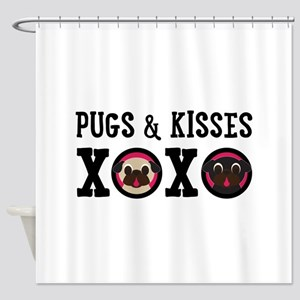 Pugs & Kisses With Black Text Shower Curtain