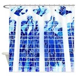 Ice Blue Stained Glass Shower Curtain