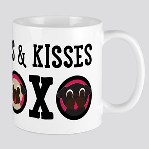 Pugs & Kisses With Black Text Mugs