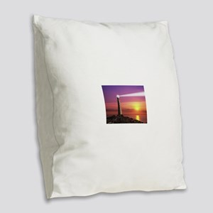 Lighthouse Burlap Throw Pillow