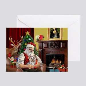 Six Santa and his Yorkshire Terrier Greeting Cards