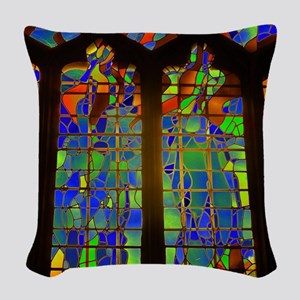 Technicolor Stained Glass Woven Throw Pillow