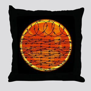 Barbed Wire at Sunset Throw Pillow