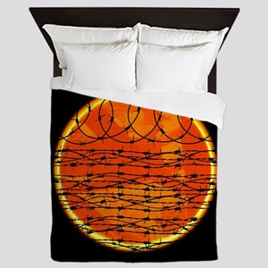 Barbed Wire at Sunset Queen Duvet