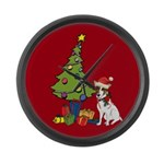 Santa Jack Russell Terrier Large Wall Clock