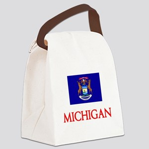 Michigan Flag Design Canvas Lunch Bag