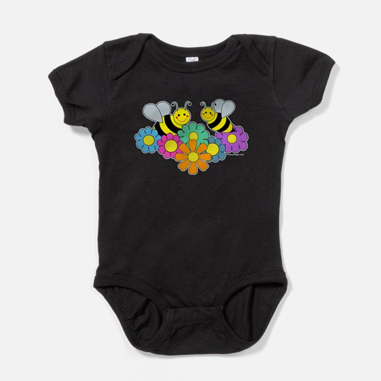 Bumble Bees Flowers Design Baby Bodysuit