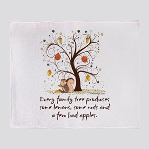 Funny Family Tree Saying Design Throw Blanket